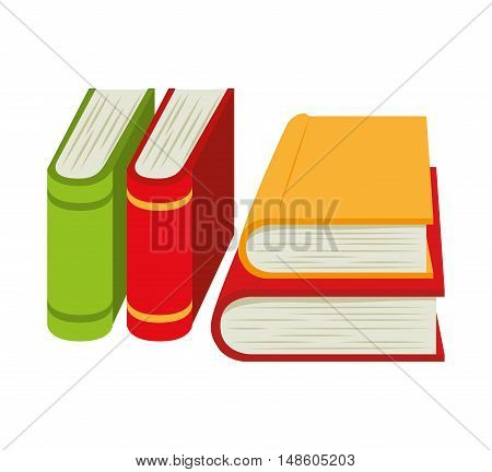 cartoon books pile school design vector illustration eps 10