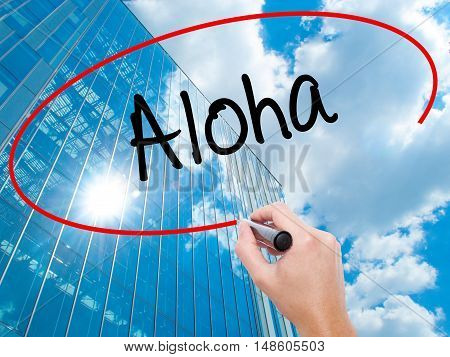 Man Hand Writing Aloha  With Black Marker On Visual Screen