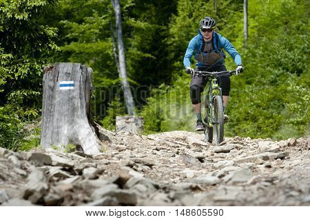Man on mountain bike rides on stony trail in the forest.
