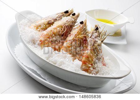 Fish Dish Prawns cooked in salt crust