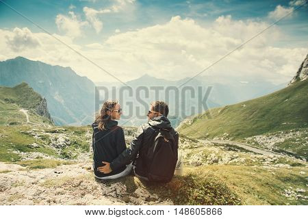 Couple Of Travelers On Top Of A Mountain. Mangart, Julian Alps, Slovenia.
