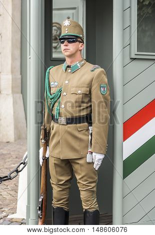 BUDAPEST, SEPTEMBER 18: Guardsman on duty at the presidential palace on September 18, 2016 in Budapest, Hungary.