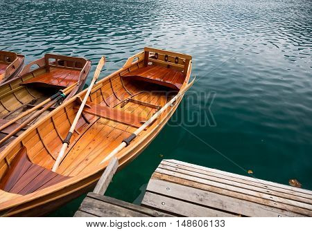 Traditional wooden boats on Lake Bled Slovenia.
