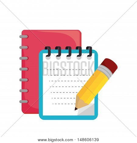 cartoon notebook orange with spiral design vector illustration eps 10