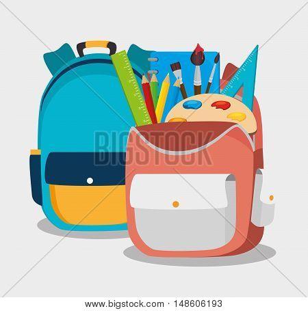 two backpack school bag design vector illustration eps 10