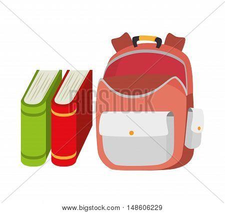 backpack school bag and book design vector illustration eps 10