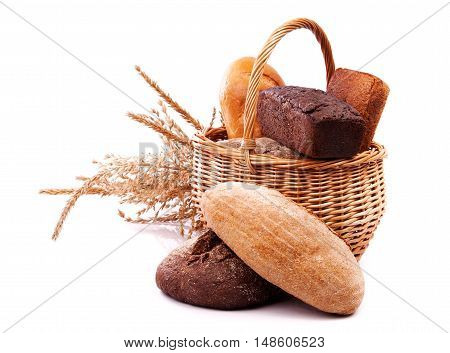 Wicker with bread and ears. Isolated on background