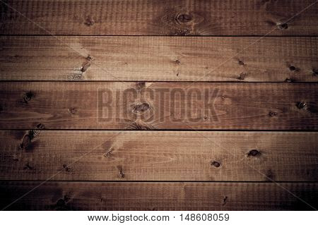 Dark wood brown board background with space for text