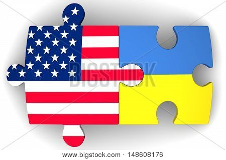 Cooperation between the United States of America and Ukraine. Puzzles with flags of the United States of America and Ukraine on a white surface. The concept of coincidence of interests in geopolitics. Isolated. 3D Illustration