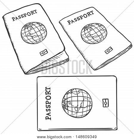 Vector Set Of Sketch Passports