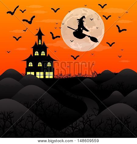 Halloween patty. Witch and bats are flying witch in the woods near the castle