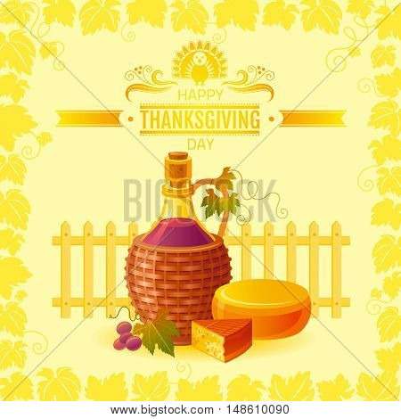 Vector illustration of beautiful autumn still life on sunny background, modern style with vineyard, elegant text lettering, copy space. Countryside fall farm thanksgiving symbols, wine bottle, cheese