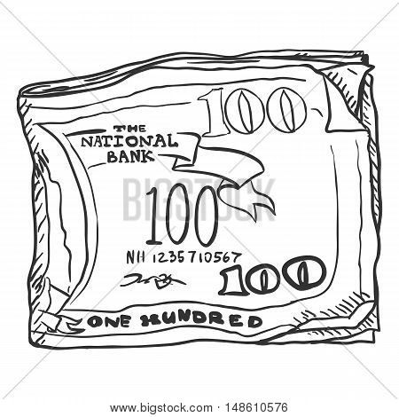 Vector Single Sketch Bundle Of Money