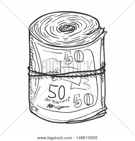 Vector Single Sketch Scroll Of Banknotes