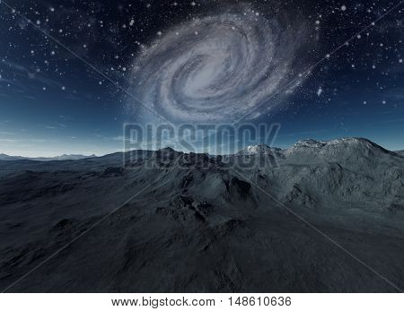 3d rendered art: Deserted planet with spiral galaxy in background
