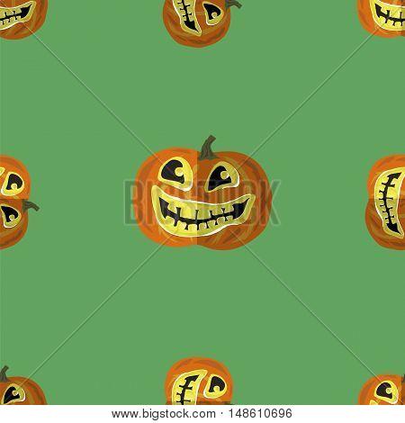 Halloween Smiling Pumpkin Seamless Pattern on Green