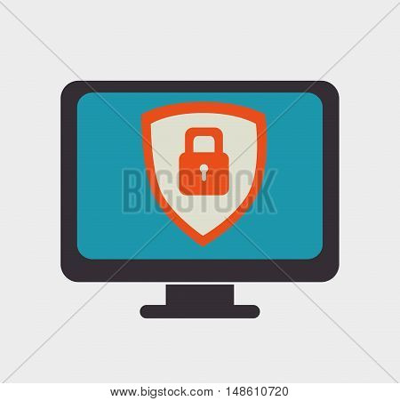 monitor shield security icon grpahic isolated vector illustration eps 10
