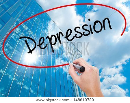 Man Hand Writing Depression  With Black Marker On Visual Screen