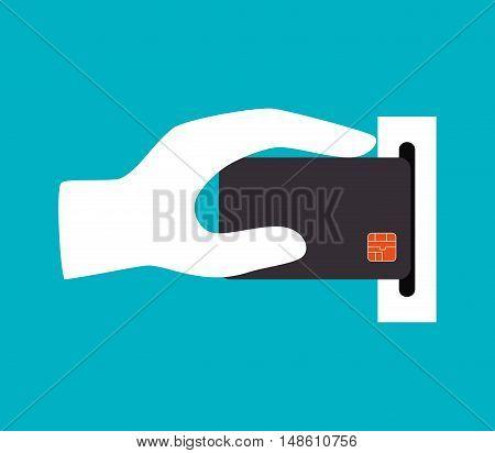 hand holdinh credit card icon design vector illustration eps 10