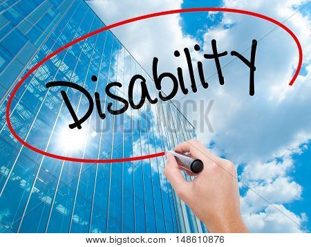 Man Hand Writing Disability With Black Marker On Visual Screen