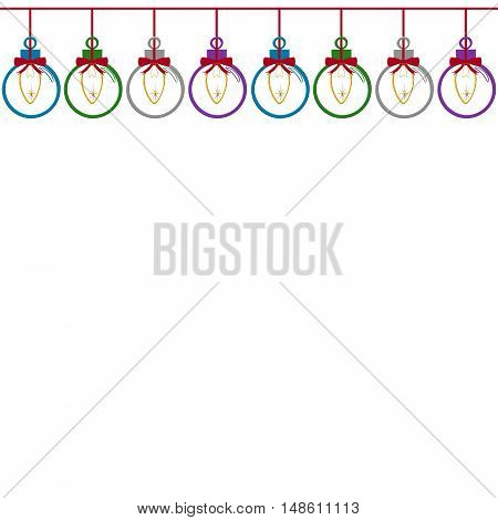 Illustrated String Of Xmas Lights In Xmas Balls