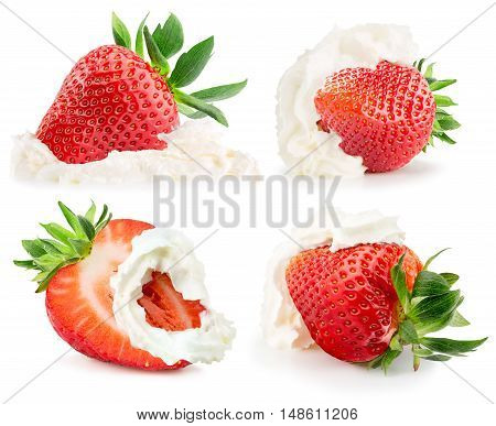 collection of strawberries with whipped cream on the white background.