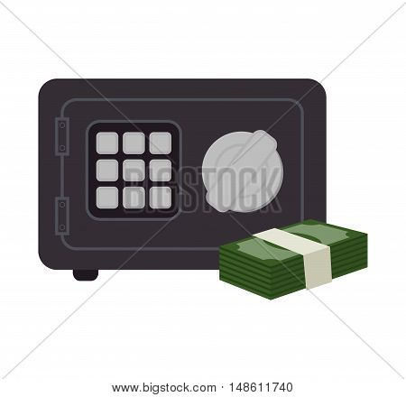 box safety money bills icon graphic isolated vector illustration eps 10