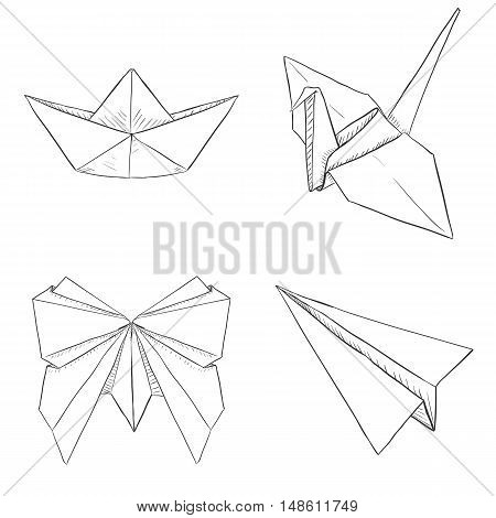Vector Set of Origami Objects: Plane Boat Butterfly Crane on White Background
