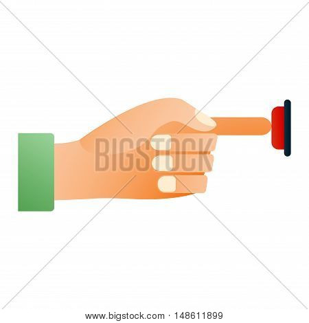 Hand press button finger press icon on white background. Finger control start up hands push button pointer cursor. Target gesture internet human hand push button touch concept one click.