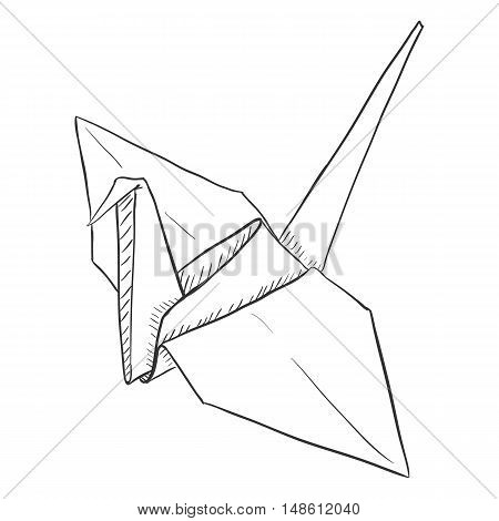 Vector Single Sketch Paper Crane