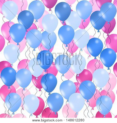 Seamless background of illustrated balloons. Blue in foreground. Pink in background.