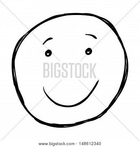 Vector Single Sketch Emoticon - Smile Face