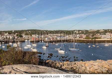 Looking towards Rockport Massachusetts and the back view of Motif No. 1 in the early morning.