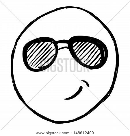 Vector Single Sketch Emoticon - Cool Smiley