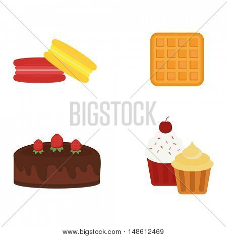 Different cakes isolated vector illustration.