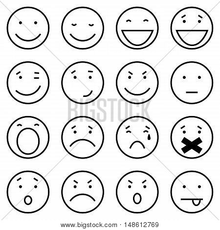 Vector Set Of 16 Outline Emoticons