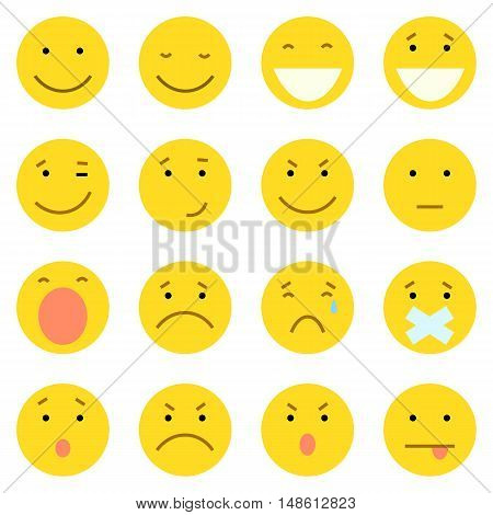 Vector Set Of 16 Yellow Emoticons