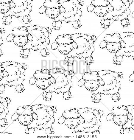 sheep smiling face animal background. drawn design. vector illustration