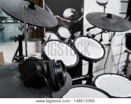 Headphones Close Up On Electronic Drum