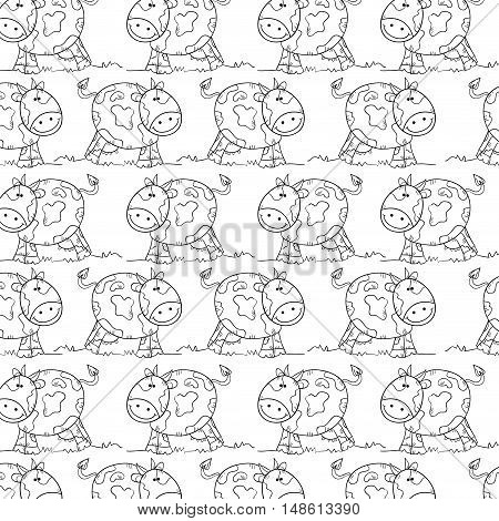 cow smiling animal background. drawn design. vector illustration