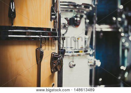 Wooden Bass Drum Detail Musical Instrument