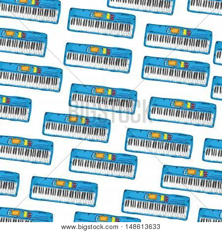 blue piano musical electric instrument drawn design vector illustration