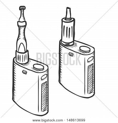 Vector Sketch Single Electronic Cigarettes. Vape Equipment.