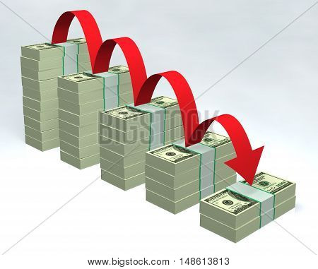 Stacked dollar bills with red down arrow 3D