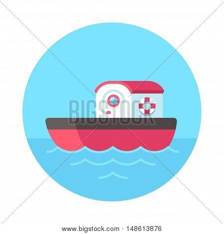 Cute cartoon tugboat at sea flat vector design. Isolated boat illustration.