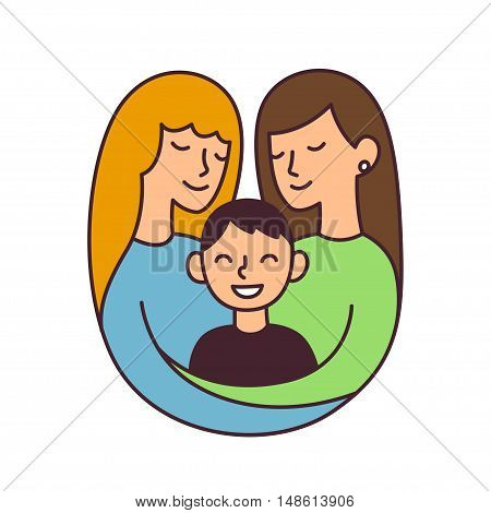 Cute cartoon lesbian couple with son isolated vector illustration. Same sex family and adoption concept.