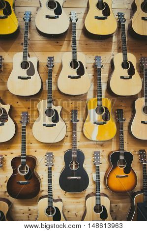 Pattern Background Of Classic Guitars
