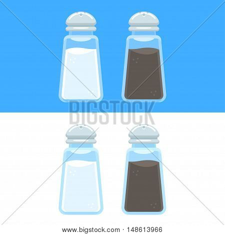 Salt and pepper shakers vector illustration isolated on blue and white background. Cooking spices icons in flat cartoon style.