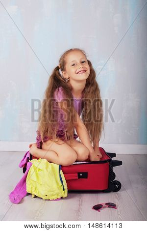 happy child is going on a trip