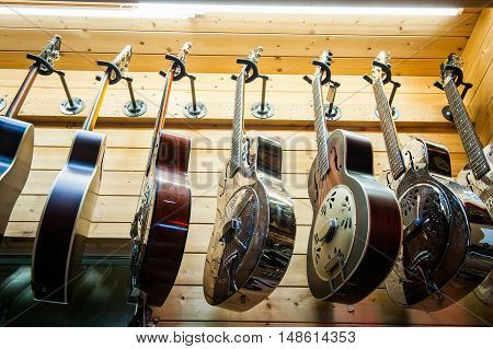 Rome, Italy. September 20Th 2016.  Dobro Guitars Collection In Store